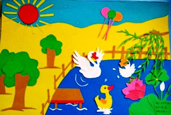 剪贴画  幼师部13级美术作业展示 13级1班:丁霜霜同学的剪贴画作品—