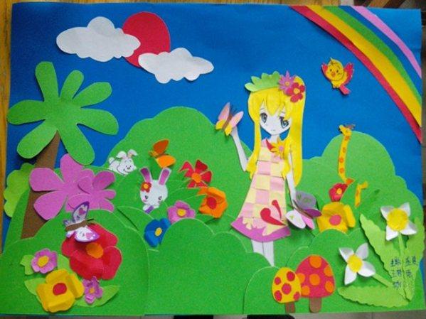 剪贴画  幼师部13级美术作业展示 13级1班:丁霜霜同学的剪贴画作品—图片